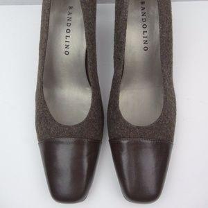 Bandolino Brown Leather & Fabric Career Work Heels